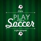 Cieszy się sztukę gra piłka nożna teksta Karciany projekt na zielonej trawy b Obraz Royalty Free