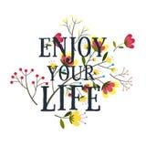Cieszy się twój życia plakatowego literowanie, Fotografia Royalty Free