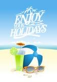 Cieszy się twój wakacje wycena wektorową kartę z plażowym tłem ilustracji
