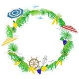Cieszy się wakacje letni biały tło z tropikalnymi liśćmi i przestrzeń dla teksta -, wektorowa ilustracja ilustracja wektor