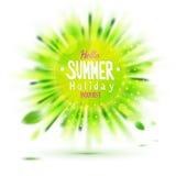 Cieszy się wakacje letni zamazującą zielonej trawy okręgu etykietkę Obrazy Royalty Free