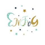 Cieszy się - wręcza patroszonego pozytywnego motywacja zwrot w boho stylu z gwiazdami i doodle ornament Śliczny kreskówki literow ilustracji