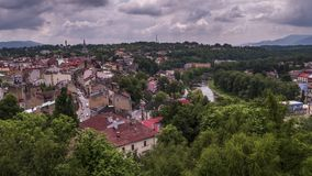 Cieszyn and Olza River in Poland and Czechia - Time Lapse Video. 30fps stock footage