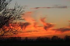 Cieux flamboyants au-dessus de Kent Images libres de droits