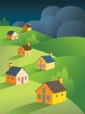 Cieux orageux en avant pour les immeubles illustration libre de droits