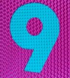 Cifra di gomma multicolore numero nove fotografia stock libera da diritti