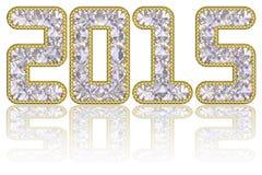 2015 cifre composte di gemme in orlo dorato royalty illustrazione gratis