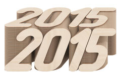 2015 cifre composte di pannelli di legno intersecati isolati su bianco Fotografia Stock Libera da Diritti