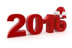 2016 cifre con il cappello di Santa isolato su bianco Fotografie Stock