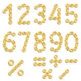 Cifre concatenate dorate Fotografie Stock