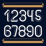 Cifre d'annata d'avanguardia di vettore, raccolta di numeri I retro numeri da 0 a 9 possono essere utilizzati nella creazione del illustrazione di stock