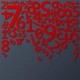 Cifre di caduta casuali rosse astratte con le ombre sopra royalty illustrazione gratis