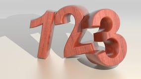 Cifre di legno - un due tre illustrazione di stock