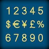 Cifre e raccolta dorate di simboli - valuta eps10 royalty illustrazione gratis