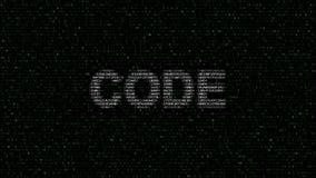 CIFRE la palabra hecha de símbolos hexadecimales que destellan en la pantalla de ordenador almacen de metraje de vídeo