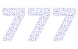 777 cifre mandano un sms al vettore poligonale Mesh Illustration della struttura illustrazione di stock