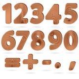Cifre nello stile strutturato del granulo di legno Immagini Stock Libere da Diritti