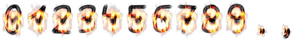 Cifre scritte mano con le fiamme ed il fuoco illustrazione vettoriale