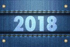 2018 cifre sul fondo delle blue jeans Fotografie Stock Libere da Diritti
