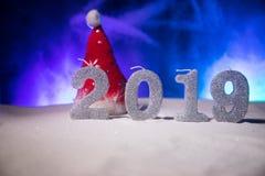 2019 cifre sulla neve Un nuovo concetto felice di 2019 anni Spazio vuoto per il vostro testo fotografia stock libera da diritti