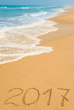 Cifre 2017 sulla sabbia Immagini Stock