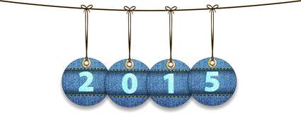 2015 cifre sulle etichette fatte dei jeans illustrazione di stock