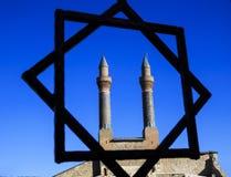 Cifteminaret Madrasa - Dubbele Minaret in Sivas stock foto's