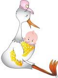 Cigüeña con el bebé Imágenes de archivo libres de regalías