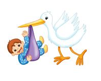 Cigüeña con un niño masculino libre illustration