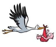 Cigüeña del vuelo con el bebé Imagenes de archivo