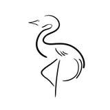 Cigüeña estilizada del negro en un fondo blanco Imagen de archivo libre de regalías