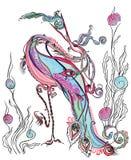 Cigüeña mágica, pescado del trago. Foto de archivo