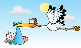 Cigüeña que entrega a un bebé stock de ilustración