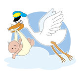 Cigüeña y bebé Imágenes de archivo libres de regalías