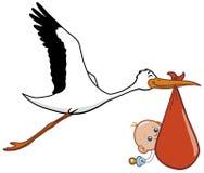 Cigüeña y bebé Imagenes de archivo