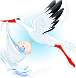 Cigüeña y bebé Fotos de archivo libres de regalías