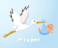 Cigüeña y bebé La cigüeña lleva a un bebé en un pañal Fotografía de archivo