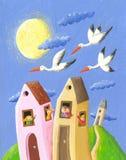 Cigüeñas que agitan de la gente feliz stock de ilustración