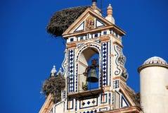Cigüeñas que jerarquizan en la torre de alarma de iglesia, Ecija, España. Fotografía de archivo