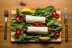 Cig kofte durum / Shawarma / Turkish food. (Fast food concept royalty free stock images
