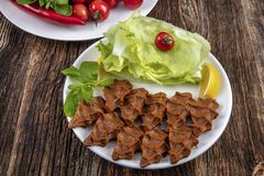 Cig kofte, a raw meat dish in Turkish and Armenian cuisines. Turkish cig means royalty free stock photography
