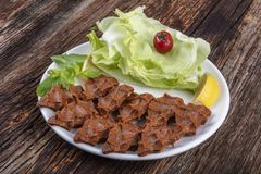 Cig kofte, surowego mięsa naczynie w Tureckich i Armeńskich kuchniach E fotografia royalty free