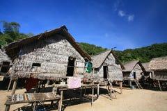 Cigano do mar, Morgan, casas de madeira de encontro ao céu azul fotografia de stock royalty free