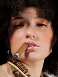 Cigar. Hot girl with cigar Stock Photos