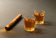 Cigar and alcohol Royalty Free Stock Photography