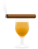 Cigar and alcoholic drinks vector illustration. Isolated on white background Stock Photography