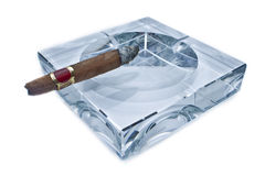 Cigar on Ashtray Stock Image