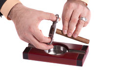 Cigar ashtray with cigars and cutter Stock Photo