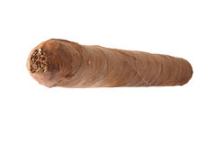 Cigar back view. Cuban cigar closeup isolated over white background. Back view Stock Photography