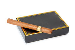 Cigar and black box Royalty Free Stock Photo